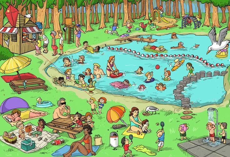 """Praatplaat """"zomer"""". Gezellig kletsen met de oudste peuters. Wat is er veel te zien op deze plaat! Ben jij ook wel eens gaan zwemmen?"""