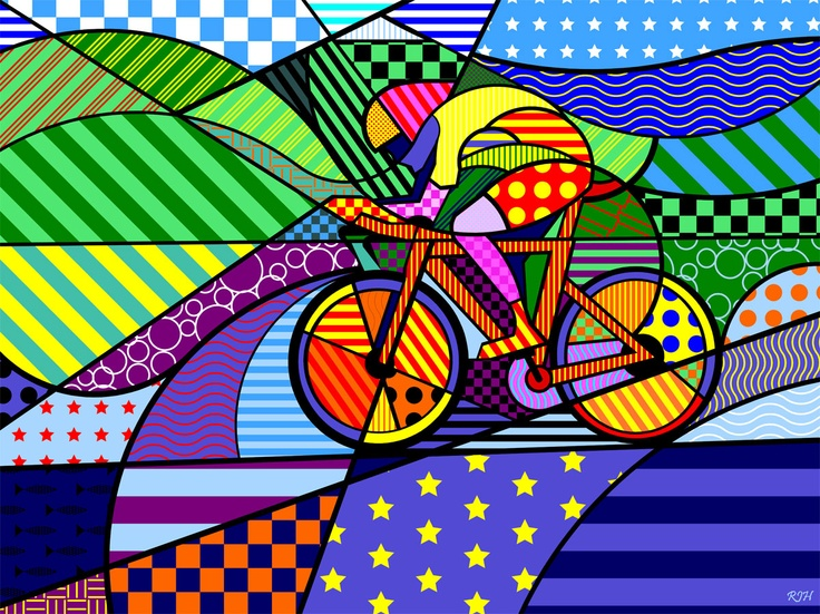 """A Pop Art inspired """"sports"""" art.  One large mural could incorporate several sports providing something very artistic and sports themed without looking like a sports bar"""