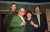 RONNIE BARKER Second Left  British Actor and Writer  Pictured with Left to Right-  DAVID MAYBRICK  CHARLOTTE BARKER  DAVID STERNE  The cast of Ronnies first ever play Mum which is showi - stock image