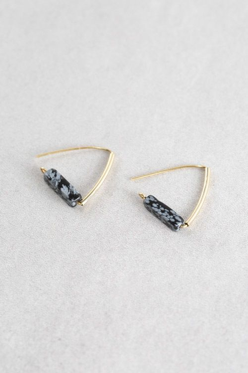 Speckled gray and black stone with gold triangle hook earrings.