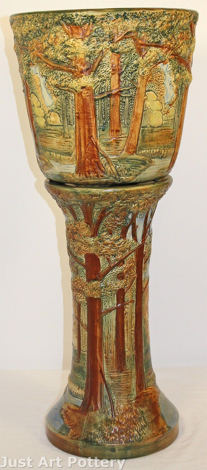 Weller Pottery Forest Jardiniere and Pedestal from Just Art Pottery