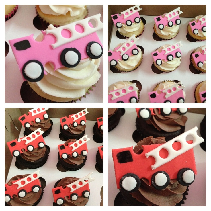 "PINK Fire Trucks FTW!  She's going on and on about these pink & red fire trucks.      Here is the orig blogpost that includes more details on how to make these.  I'd definitely add the number ""3"" on the trucks.  http://sarabakescakes.com/blog/2009/3/28/fire-truck-cupcakes.html"