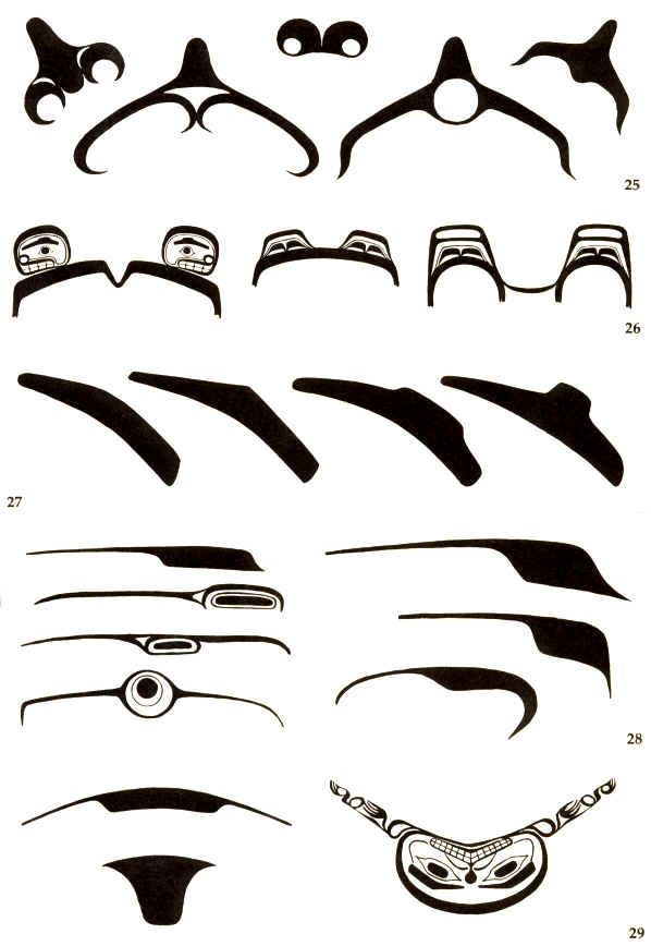 West Coast Native Art design elements - Facial figures.