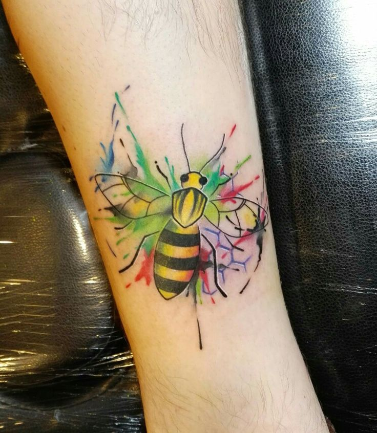 Manchester's bee  #watercolour #tattoo #bee tattoo