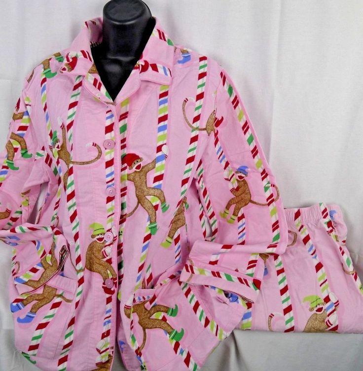 Woman's Nick And Nora Flannel Pajamas 2 Pc. Pink Sock Monkey Candy Cane X Large  #NickNora #PajamaSets