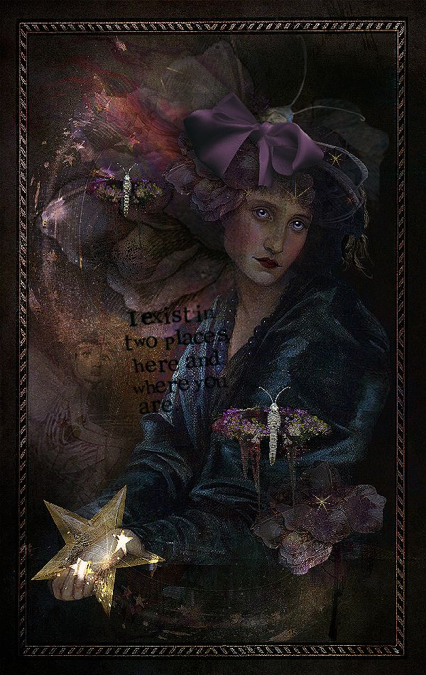 *** I , Exist in 2 places, here and where you are **** I used, ATC card , and Aura lights , Past Masters 1 . 3. magical orb fairy . Fairy feathered look . and various elements from Foxeysquirrel. https://www.e-scapeandscrap.net/boutique/index.php… foto van Ina Rijkens.