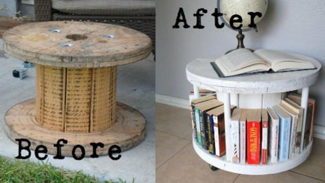 Like shipping pallets, wooden cable spools are another item that is usually found for free on Craigslist. Since cable spools are limited by their shape there are fewer repurposing options, but they make a great coffee table bookcase.