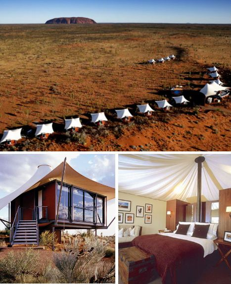 """15 luxury tents hover on steel stilts over the sand dunes at Longitude 131, an ecologically sensitive resort in the Northern Territory of Australia."" #Travel #ecotourism #Uluru"