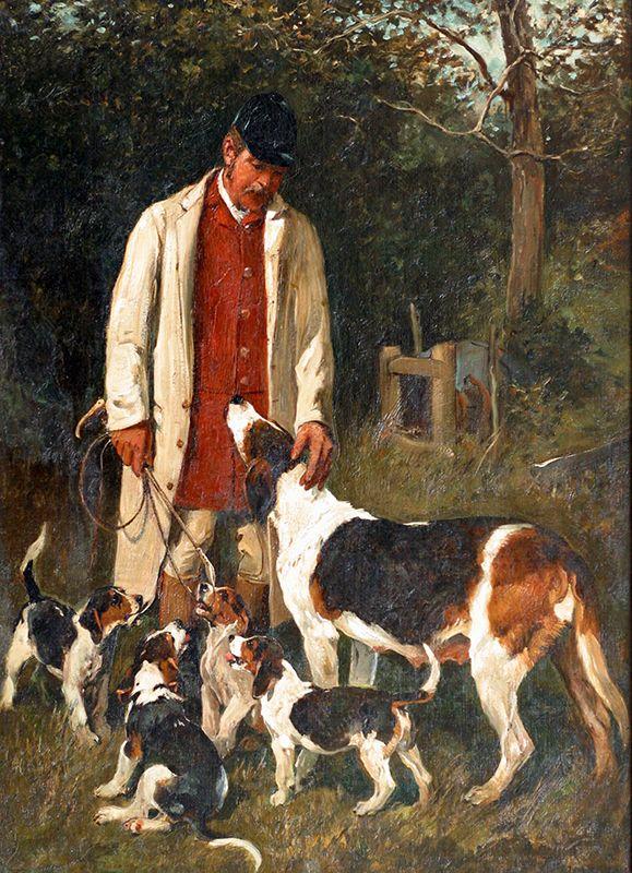 Huntsman Hound Amp Puppies By John Emms Pebble Hill Art