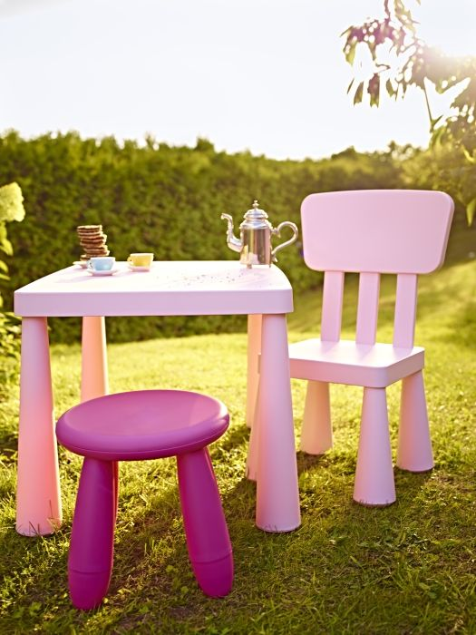 The MAMMUT series of children's tables and chairs are indoor/outdoor; great for playing board games inside or having a tea party in the yard.