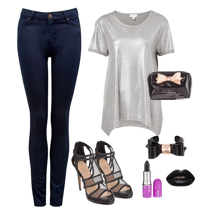 Casual Metallic glam.  Love this look for a chill evening out.