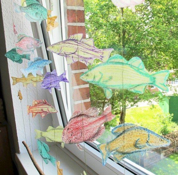 Cool DIY Fisch Fensterdeko Kinderzimmer Selbermachen Mobile Gardine Basteln u