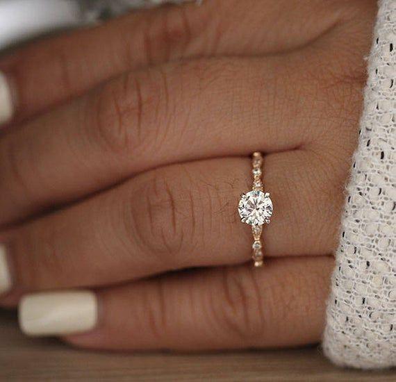 6mm Round Moissanite Forever Classic Engagement Ring, 14k Rose Gold Moissanite and Diamond Ring, Charles & Colvard Moissanite, Handmade