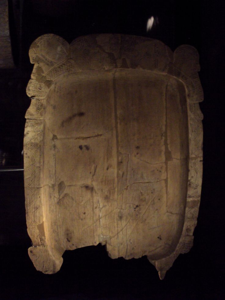 Wooden tray or platter with Scandinavian decoration, 10th century. Berlin-Spandau, Berlin, Germany. Beech. L 47 cm, W 34 cm. Museum für Vor- und Frühgeschichte, Staatliche Museen zu Berlin, Berlin. Photo from the Viking exhibition in the National museum of Copenhagen.