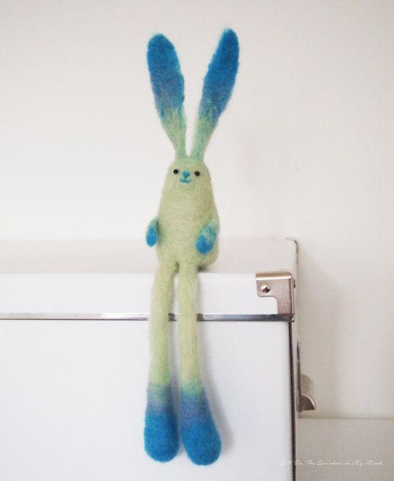Felt bunny BoBo the long leg bunny. TheRainbowInMyMind