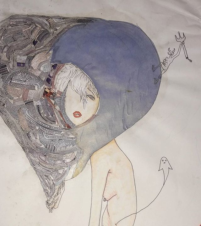 WEBSTA @ charlescomerart - Untitled (work in progress pic) 2-3*@charlescomerart #arte #contemporaryart #ghost #mask #fashionmask #diamondmask #deities #figurative #lucidity #psychedelichardcore #transmutation #racewiththedevil #surrealism #swoon #global #nycart #pitchfork #painting #traversingtheworld #lipstick #collage #violator #obe #sacredfemale #highfashion #melancholia #sidetit #wanderlust #didnttheytellyouthatiwasasavage