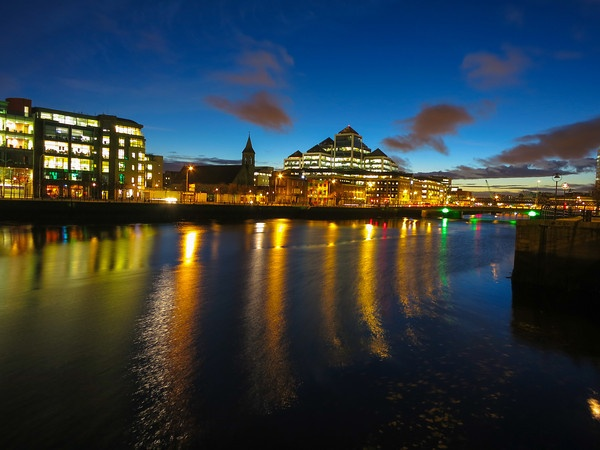 Dublin, Ireland at Night Along the River near North Quay