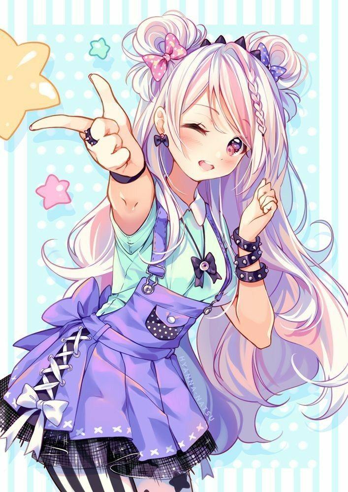 Fille Au Cheveux Rose -5  Dessin Kawaii Manga, Chibi Et