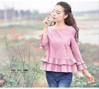 2015 новинка женщина летние льняные блузка в горошек печать три четверти рукава оборками свободного покроя топы