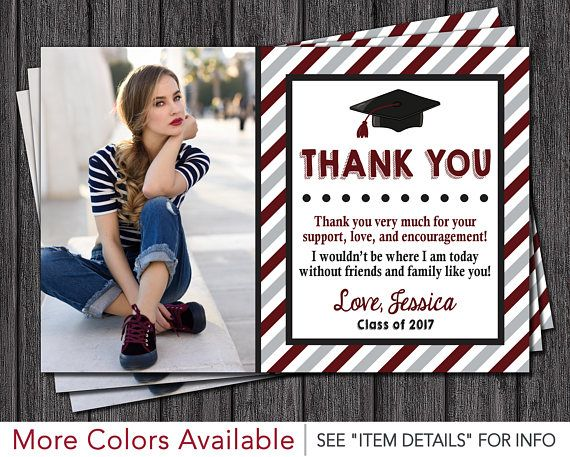 Graduation Thank You Card With Photo In Maroon Editable Template