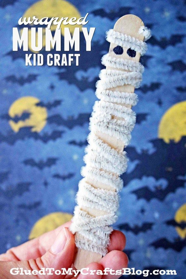Pipe Cleaner Wrapped Mummy Pretend Play Halloween Kid Craft Idea