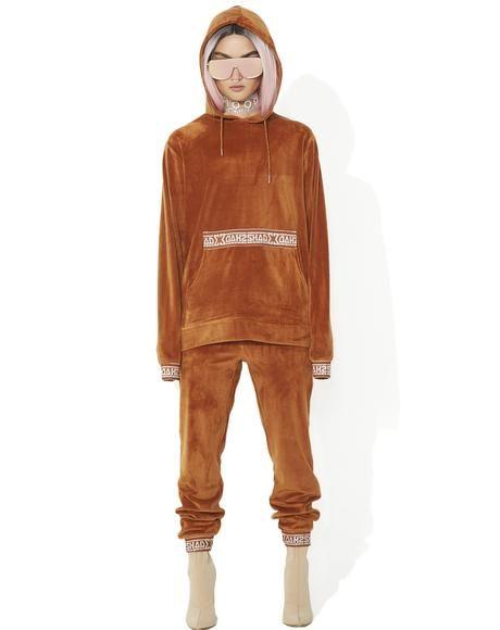 Rust Velour Hooded Sweat