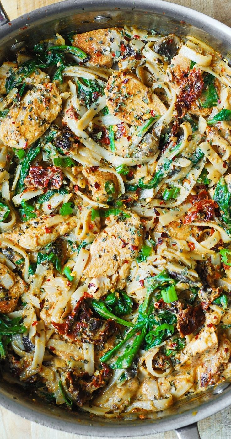 Chicken Pasta with Sun-Dried Tomatoes and Spinach in a Creamy ...