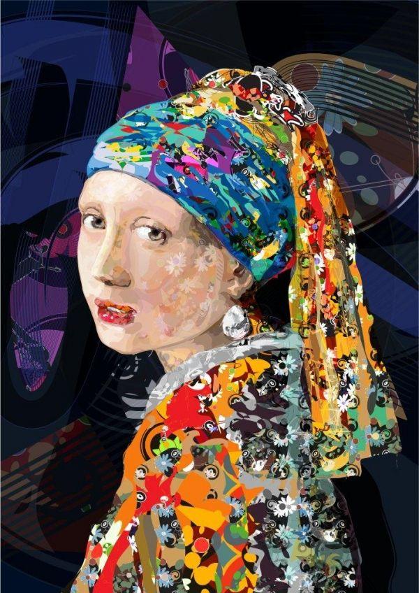 """Oeuvre de Vermeer """"La jeune fille à la perle"""" détournée par Tuliofagim, artiste brésilien."""