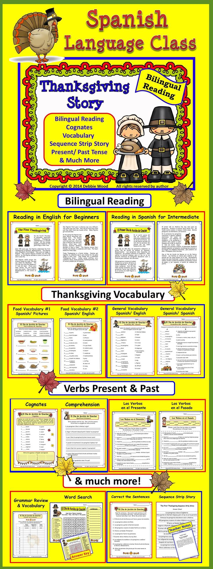 Spanish Thanksgiving (El Dia de Accion de Gracias) Bilingual Reading for the Spanish Language Class.  Includes vocabulary, cognates, present and past tense verbs, sequence strip story, word puzzles and more.