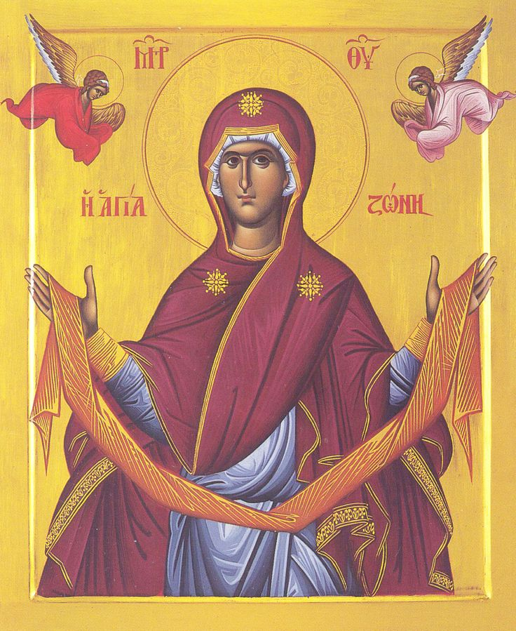 The MostHoly Glorious Lady Theotokos and EverVirgin Mary holding up her camel-hair belt -- http://www.johnsanidopoulos.com/2010/08/holy-belt-zoni-of-theotokos.html