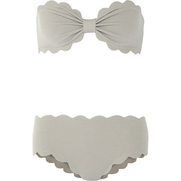 Marysia Antibes and Spring scalloped bandeau bikini ($340) ❤ liked on Polyvore featuring swimwear, bikinis, swimsuit, grey, bandeau tops, bandeau bikini top and marysia swim