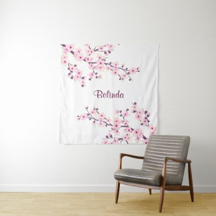 Pink White Cherry Blossom Monogram Tapestry - monogram gifts unique design style monogrammed diy cyo customize