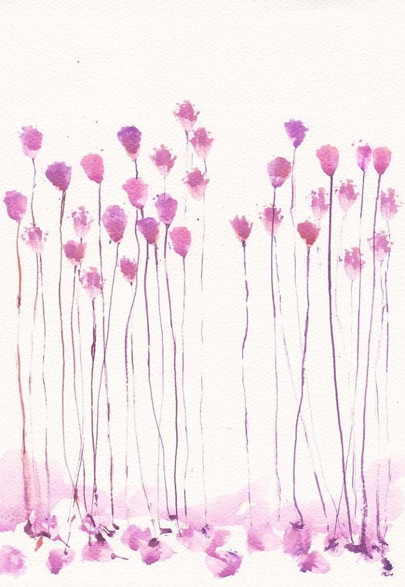Art painting original watercolor flower 8x11 floral for Abstract watercolour flowers