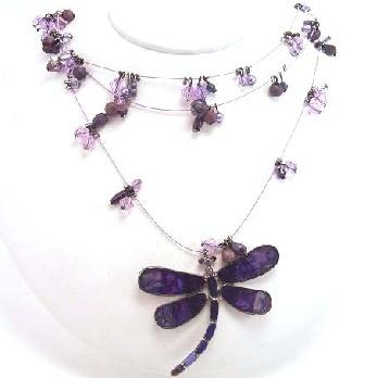 Beautiful purple enamel dragonfly beaded necklace & earrings.