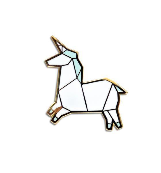 Origami Unicorn Brooch