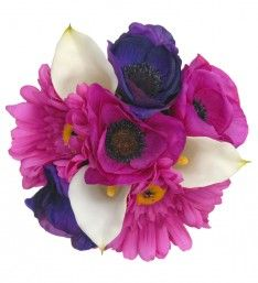 A Bridesmaids Ivory Calla Lily, Pink & Purple Anemone & Silk Gerbera Wedding Posy