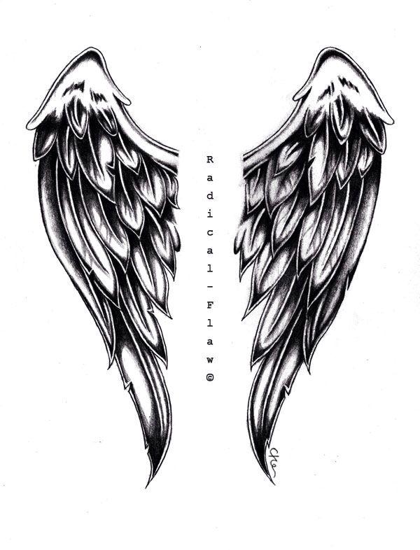 картинки тату крылья ангела заменой непрактичным удлиненным