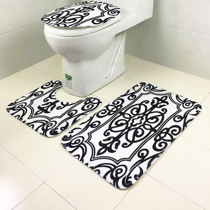 White Black Pring Bathroom 3pcs Set Mats Toilet Anti-Slip Mat lfombras dormitorio Carpet Deurmat rugs tapis chambre Free Ship