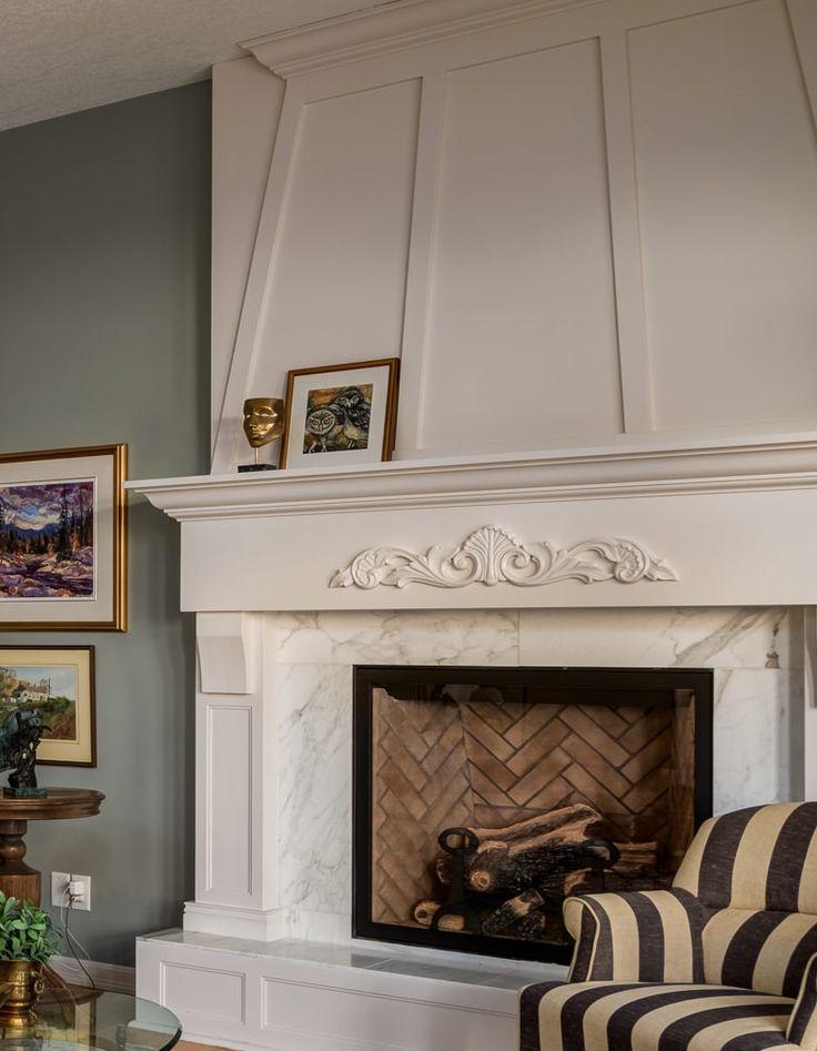 close up view of custom designed English fireplace