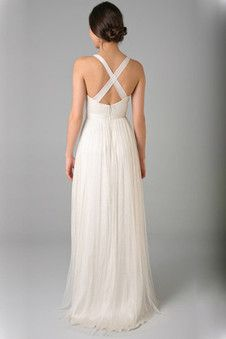 Robe de mariée informel a-ligne fourreaux plissés au drapée de col en cœur - Photo 2