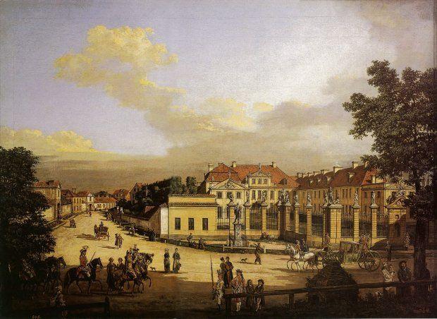 Pałac Mniszchów na obrazie Canaletta z 1779 r. Przed wspaniałym ogrodzeniem widać istniejącą do dziś, choć nieco przesuniętą figurę św. Jana Nepomucena. Z lewej licha zabudowa ul. Rymarskiej. W epoce Królestwa Kongresowego powstanie tu trójkątny plac Bankowy.