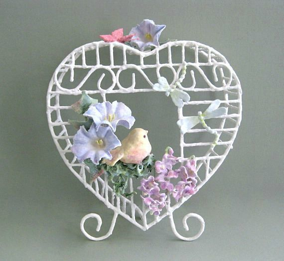 Baby Shower Gift Baby Nursery Bird Cage Decor Clay Flower Birdcage Decor White Birdcage with Bird Decorative Floral Birdcage Decoration by afloralaffair on Etsy