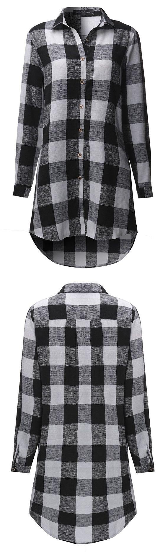 $19.71 Plus Size Loose Cotton Plaid  Shirt For Women