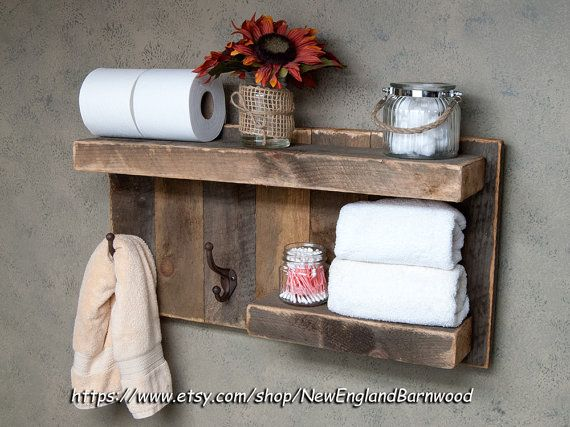 BATHROOM SHELF with Hooks Rustic Bathroom by NewEnglandBarnwood