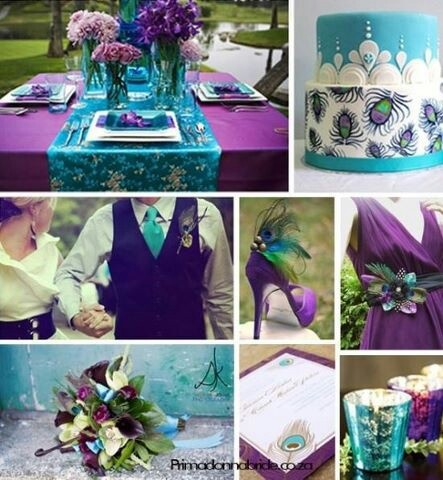 .purple and turquoise wedding - more along a peacock wedding theme