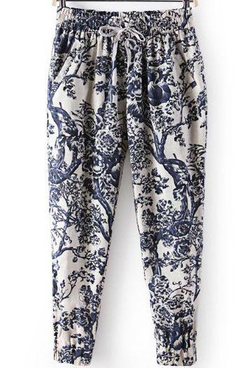 Blue Elastic Waist Branch Print Loose Pant EUR€15.63