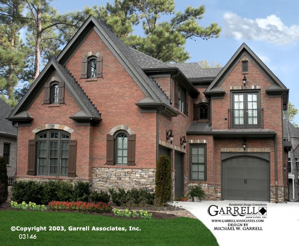 Garrell Associates, Inc. Rivers Call House Plan # 03146, Front Elevation, Courtyard Style House Plans, Traditional Style House Plans (3,486 s.f.) Design by Michael W. Garrell
