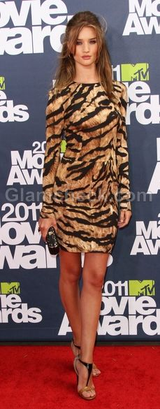 Rosie Huntington in a tiger print dress