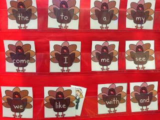 Sight Word game Thanksgiving themed from Time 4 Kindergarten