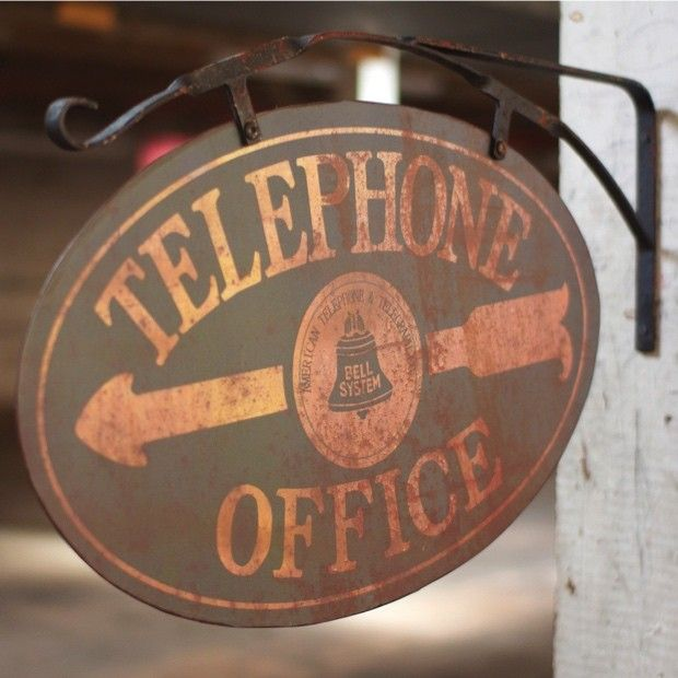 Telephone Office Sign | Double Sided Sign | Antiqued Metal Telephone Sign | Telephone Decor | Telephone Art